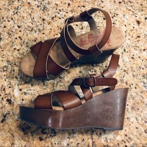 Jellypop Brown Platform Wedge Sandals